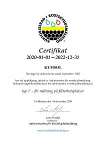 Rostskyssmalning Certifikat